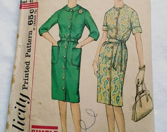 1960s Simplicity 4559 Size 20.5 B41 Misses One Piece Dress Cut/ Complete
