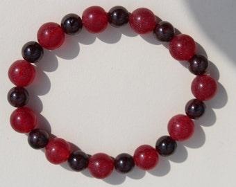 Red Agate and Garnet stretchy bracelet