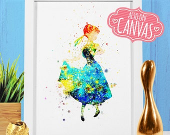 Frozen Fever Disney Princess Anna, Nursery Disney Print Frozen Anna Canvas, Disney Princess Art Watercolor, Disney Princesses Girls Nursery
