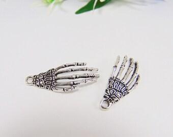 2 Antique Silver Skeleton Charms - Skeleton Hand Charm - Halloween Skeleton - Halloween Charm - Jewelry Supplies - Skeleton - C0021