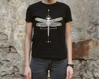 Dragonfly geometric T-shirt Screenprinted  Women T-shirt