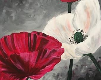 "Poppy Trio - 16""x20"" Original Acrylic Painting by Christa Smith, Joy of Paint, small art, canvas"