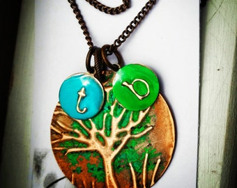 Rustic|Gift|For|Her| Copper Tree-Of-Life Necklace |A|Boho|Necklace|Copper| Jewelry | Tree-Of-Life Jewelry | Distressed Tree Pendant Necklace