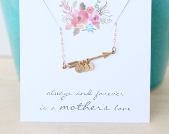 Mother's Initial Necklace, MOM Necklace, Children's Initials, Two Children, Gold Arrow Necklace with Initials, Personalized Necklace, Modern