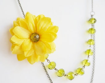 Statement Necklace,Yellow Sunflower Necklace,Bridesmaid Necklace,Yellow Necklace,Olivine Necklace,Bridesmaid Jewelry Set,Bridesmaid Gift