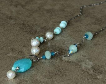 Bright Blue Peruvian Opal Asymmetrical Necklace, White Freshwater Pearls, Sterling Silver Chain, Ocean Beach, Swarovski Crystals NMAR