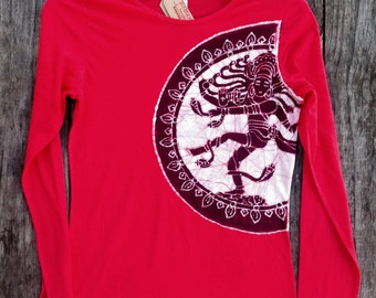 Shiva Nataraja hand dyed red long sleeved tops & tees women Eco friendly batik hand painted