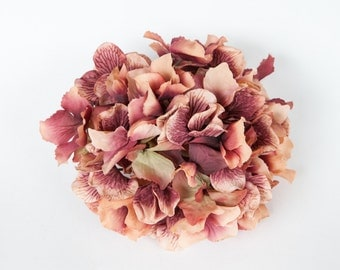 60 Large Hydrangea Petals in Antique Coral and Boysenberry - artificial flower - ONE Hydrangea Head - ITEM 0859