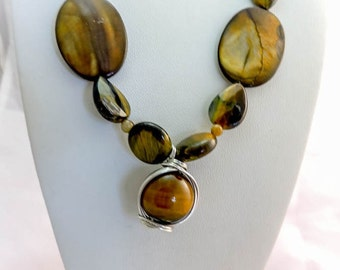 Golden Tigers Eye Necklace, Earrings, and Pendant Set