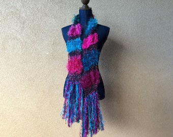 Teal Pink Skinny Scarf Hot Pink Magenta and Turquoise See Through Lightweight Fashion Accessory with Sparkle, Fringe