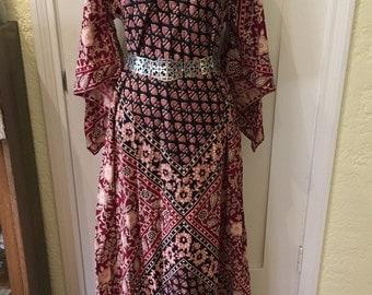 1970s Boho Dress, 70s Kaiser Dress, Vintage Dashiki, Angel Sleeves, 60s Maxi Caftan, Festival Tunic, Block Print Cotton, Laurel Canyon style
