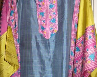 Vintage Silk Caftan-blue, yellow, pink print ONE SIZE