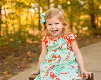 Dress - fall bird aqua coral orange blue baby girl outfit toddler first birthday flower girl wedding photo shoot coordinating sister dress