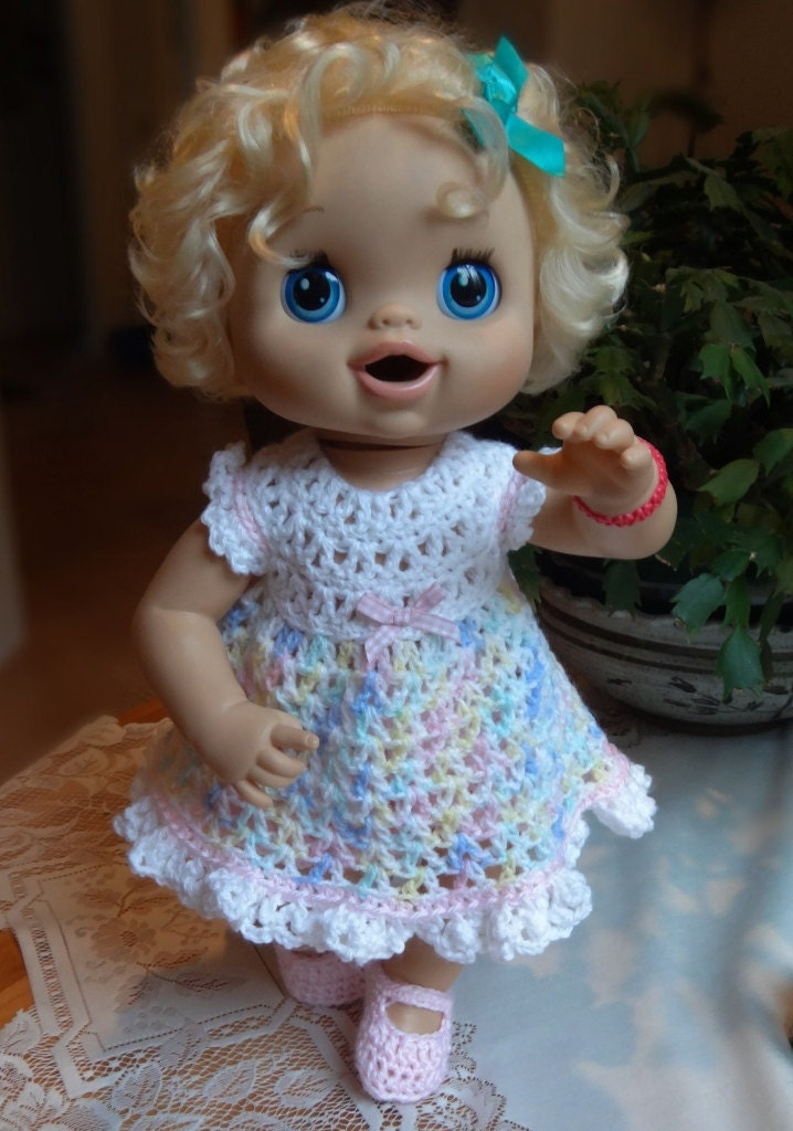 Crochet outfit Baby Alive Doll 16 17 inch Dress Set Pastel
