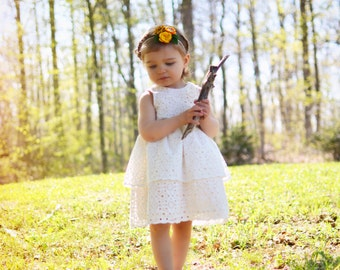 Flower Girl Dress, Eyelet Flower Girl, Eyelet Lace Flower Girl, Off White Eyelet Dress, Country Flower Girl, Toddler Flower Girl Dresses