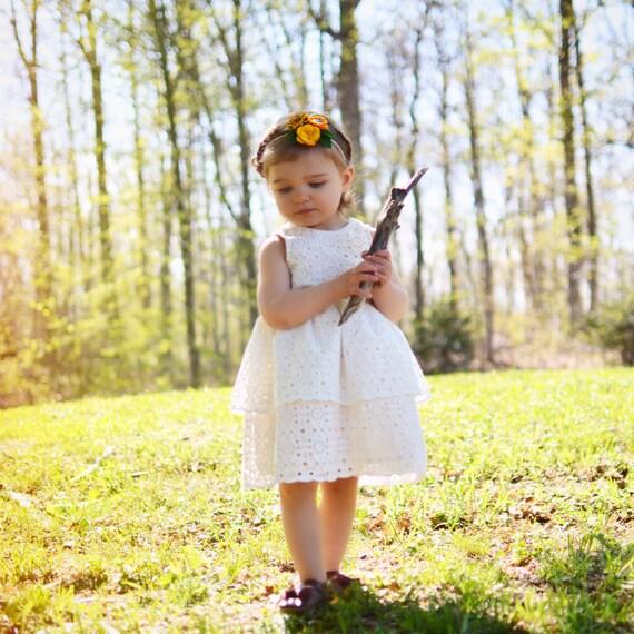 Wildflower Ivory Eyelet Flower Girl Dress
