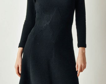 Vintage 60s Black Ribbed Dress