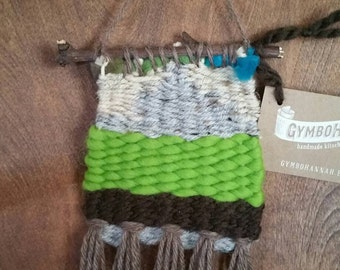 Woven Wall Hanging Green Teal Gray Handmade Weaving Tapestry