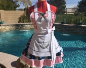 Alice inspired Sassy Apron with Petticoat, We're All Mad Here, Alice in Wonderland Costume, Womens Plus Sizes, Girls Sizes, Cosplay Alice