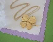 4 Leaf Clover Gold, Real Clover, Shamrock, Yellow Gold, Medium, Four Leaf Clover, CLOVER21