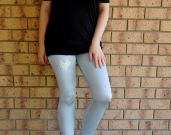 Leggings Silver Spandex Pants Holographic Studs Pixel Heart Footless Tights Lycra Opaque Disco EDM Club Kid