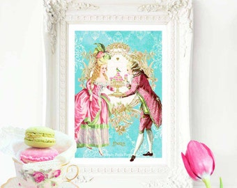 Marie Antoinette French art print, vintage decor, romantic baroque couple, let them eat cake, A4 giclee