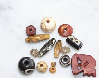 Wood Bead Mix, Shell Beads, Destash Supplies, Bead Soup Mix, Arts and Crafts, Jewelry Supplies, Bead Lot, Wooden Beads, Square Bead, Disc