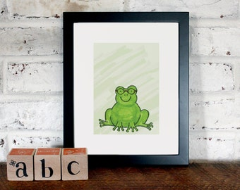 Frog in Glasses: 8x10 Archival Art Print
