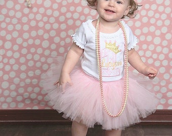 First Birthday Outfit Girl, Cake Smash Outfit Girl, Pink and Gold 1st Birthday Outfit Girl, Gold Lace Crown and SEWN Tutu Skirt, Tulle Skirt