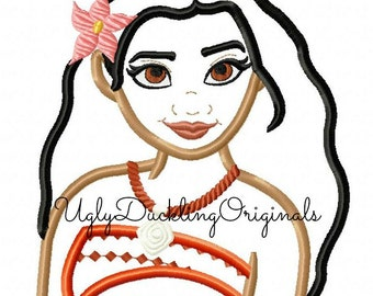 Moana Applique Design Princess Machine Embroidery Original Artwork by UDOAppliques™ Digital Download