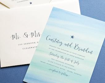 Courtney Aqua Blue Watercolor Beach Wedding Invitation Sample - Destination Blue and Aqua Watercolor Starfish Beach Wedding Invitation