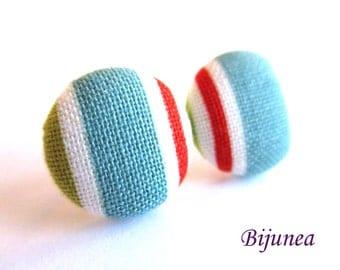 Stripe earrings - Blue stripe stud earrings - white stripes posts - Baby blue stripes post earrings sf1306