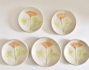 California Poppy: pottery ring dish handmade botanical decor ceramic plate orange white green