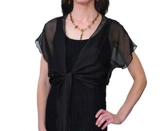 40% Off Black Tie Front Silk Chiffon Shrug/ Bolero  / Sizes XS