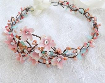 pink and mint headband, bridal headpiece, boho headband, cherry blossom headband, bridal hair piece, swarovski headband, blush hair piece 89