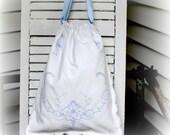 Lined Drawstring Bag Bridal Bag Laundry Bag Wedding Card Bag Lingerie Bag made from Finest Vintage Strong, Sturdy, Medium Weight