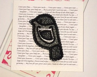 Bird Bookmark Card - Love - Embroidered