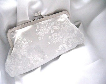 white and silver clutch, bridal clutch, brocade clutch, floral clutch, bridal accessories, wedding clutch, something blue, ready to ship,