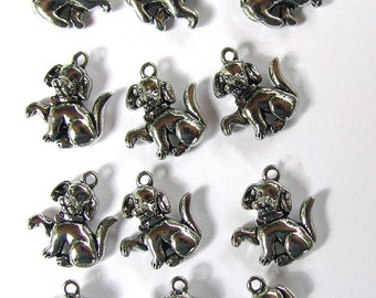 12 Silver Puppy Dog Charms 16X17mm
