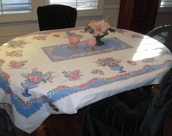 Vintage Tablecloth Prettiest Pink & Blue Cabbage Roses MWT