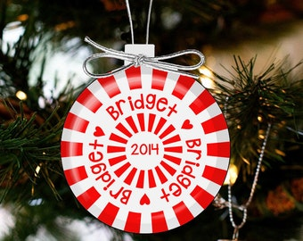 Christmas ornament peppermint candy personalized ornament CCCO