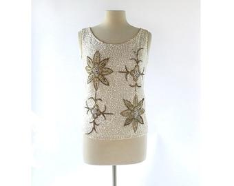 Vintage Sequin Top | Ancien Fleurs  | Beaded Top | 60s Sweater | Small S