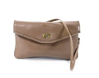 Etienne Aigner Vintage Taupe Leather Bag Shoulder Bag Convertible Clutch Purse