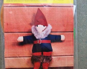 Vintage Nilbog the Gnome Kit, Craft Kit, 1970s Gnome Doll, Stuffed Doll Kit, 1970s Nilbog Kit, Gnome Stuffie, Stuffed Doll, 1970s Crafting