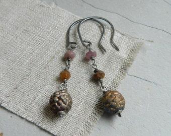 Pink Tourmaline Gem & Vintage Gold Wash Glass Earrings-Gem
