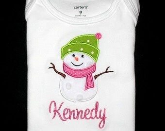 Custom Personalized Applique Girly Minky SNOWMAN and NAME Bodysuit or Shirt - Pink and Lime Green