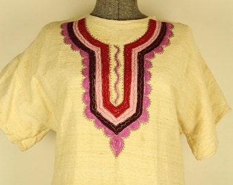 Vintage Embroidered Ethnic Raw Silk Kaftan Style Dress, Large