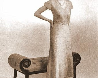 Cap Sleeve Dress Knitting Pattern 1940's - 726094