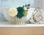 Emerald Green, Dark Green, Moss Green, Ivory, Jade Green, Country Rustic Wedding Comb. Green Flower Comb, Green Wedding, Floral Hair Comb