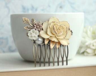 Wedding Comb Antiqued Rose Comb Brass Leaf White Pearl Brown Cream Flower Hair Comb Rustic Nature Vintage Ivory Shade Gold Bridal Wedding